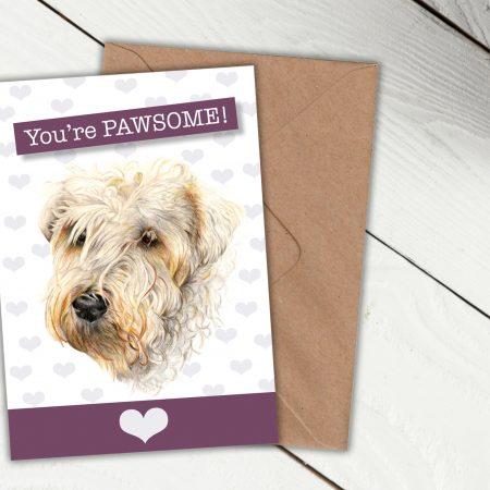 Wheaten terrier pawsome card