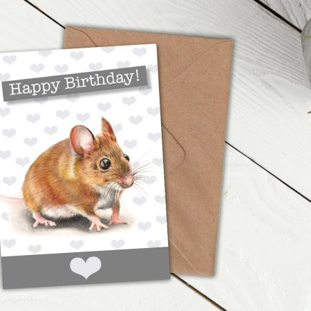 field mouse birthday card