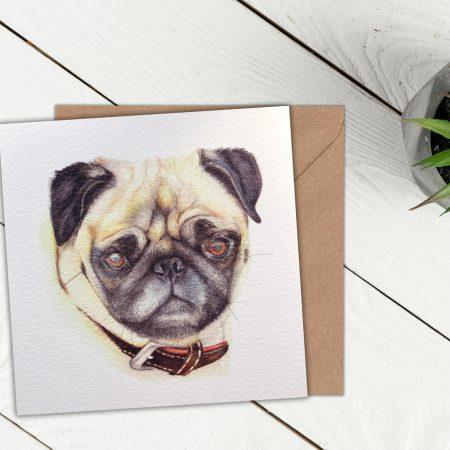 Pug Blank Greeting Card