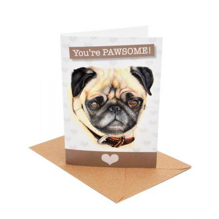 Pug Pawsone Card