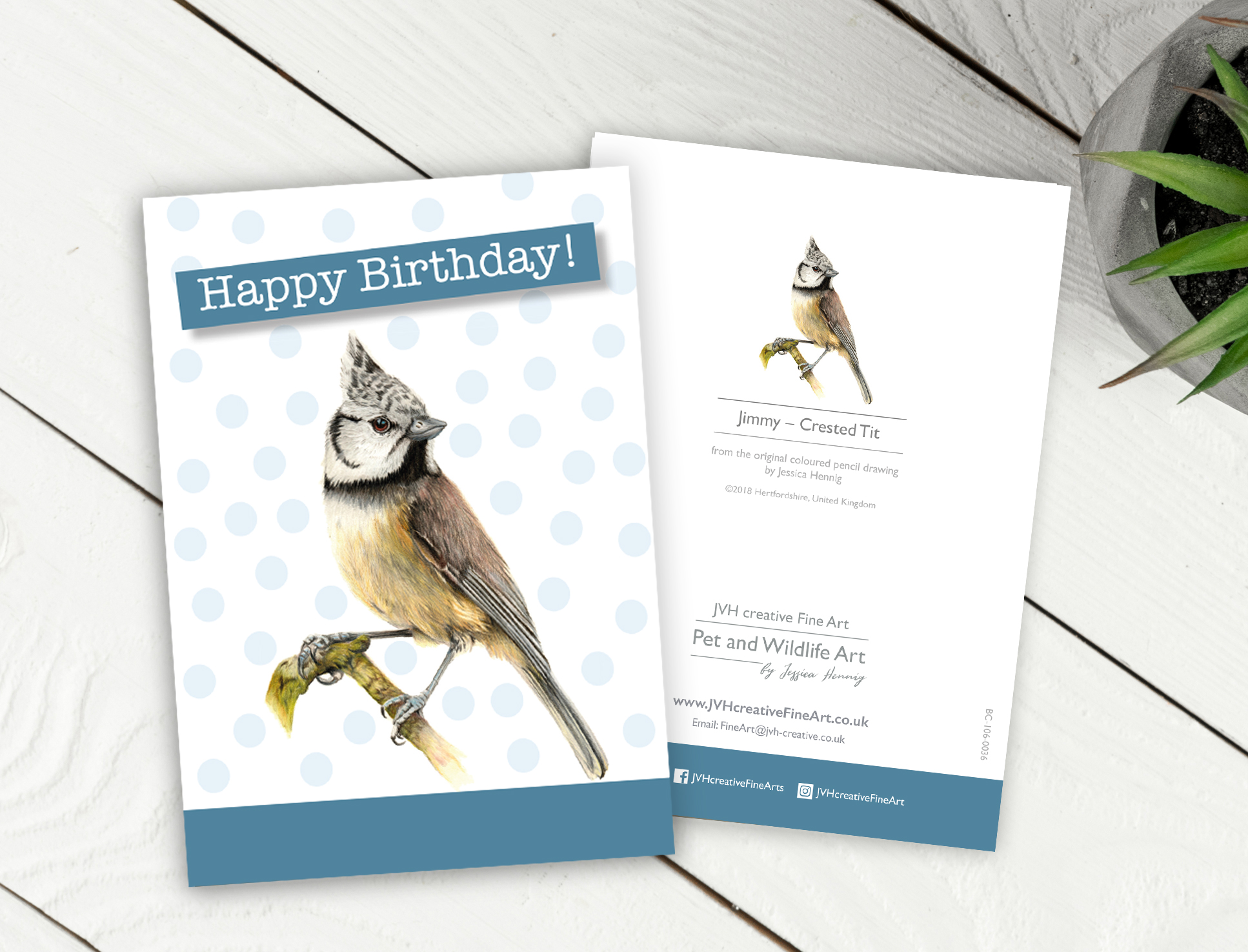 Crested Tit Birthday Card Front And Back
