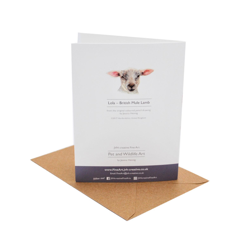 Lamb Birthday Card Back