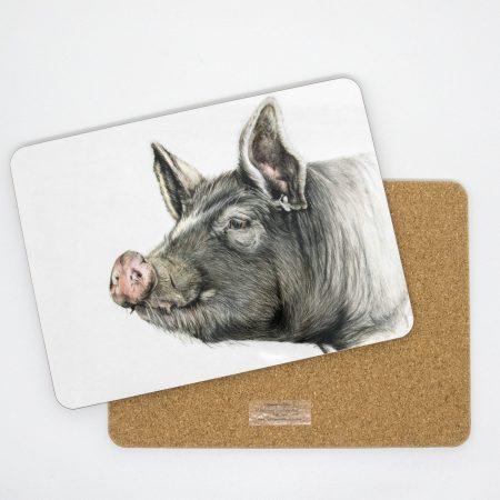 Berkshire Pig Tablemat front back