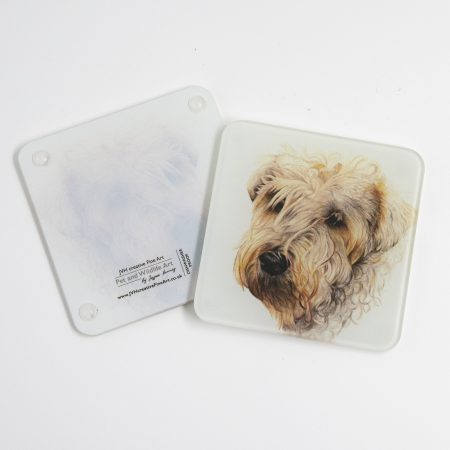 Wheaten Terrier glass coaster reverse