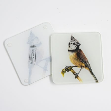Crested Tit glass coaster reverse