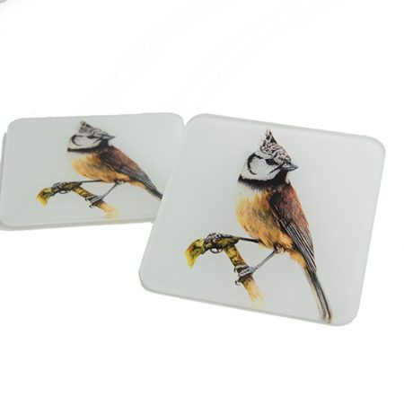 Crested Tit Glass Coaster