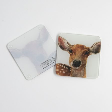 Young deer glass coaster reverse
