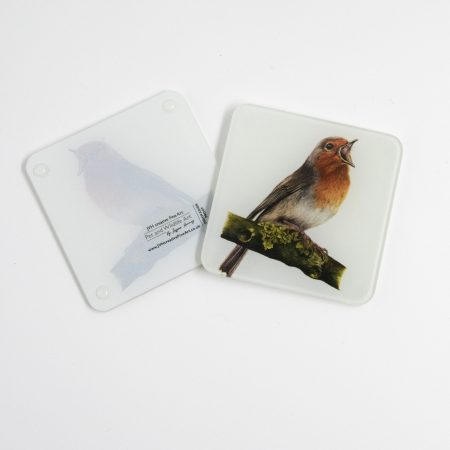 Robin glass coaster reverse