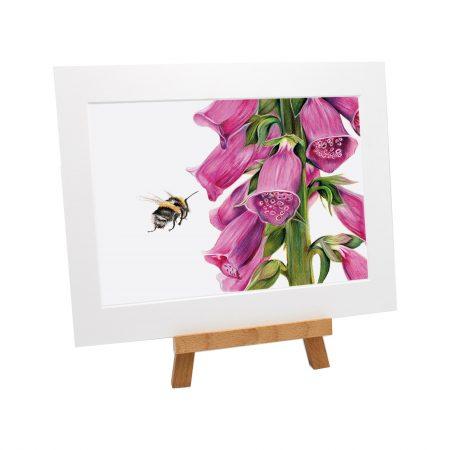Bumblebee Foxglove print