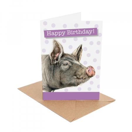 berkshire pig birthday card