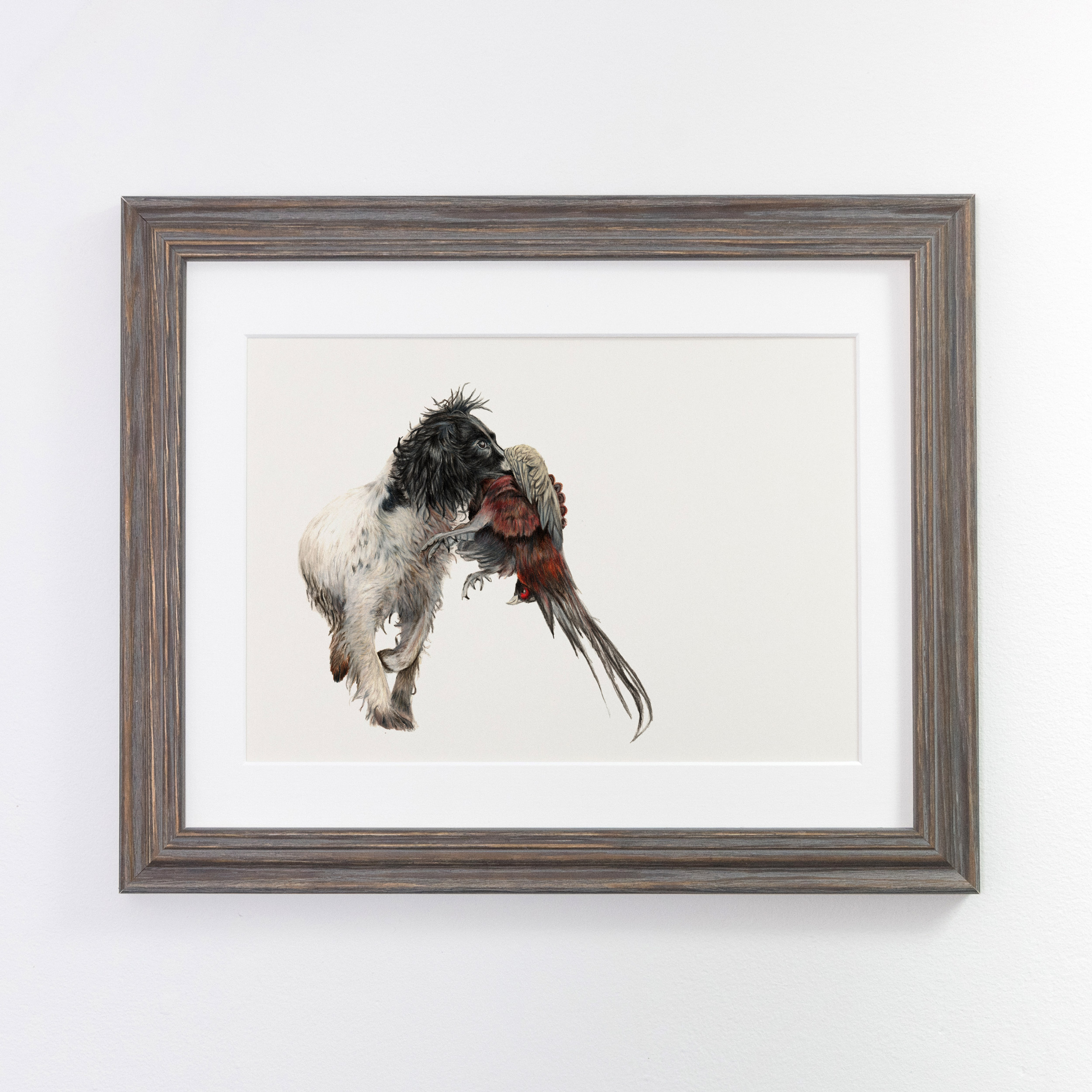 Working Spaniel Print Dark Framed