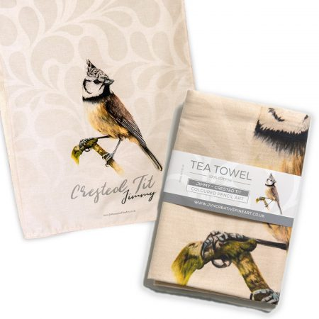 Crested Tit Tea Towel