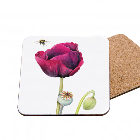 poppy and bee coaster front and back