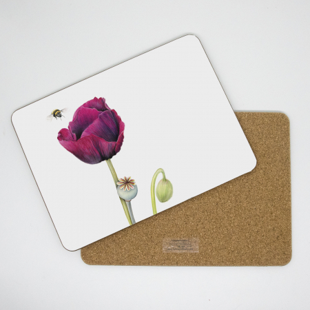 poppy and bee placemat front and back