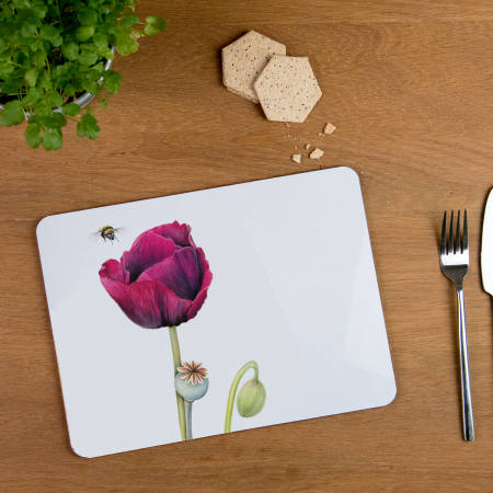 poppy and bee placemat