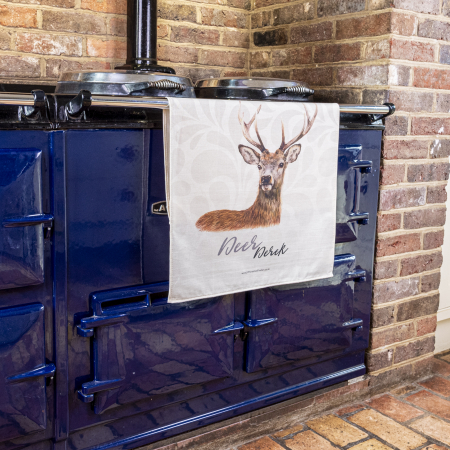 Deer Tea Towel on Aga