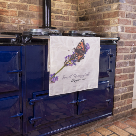 Lavender and Butterfly Tea Towel on Aga
