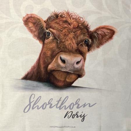 shorthorn cow tea towel close up