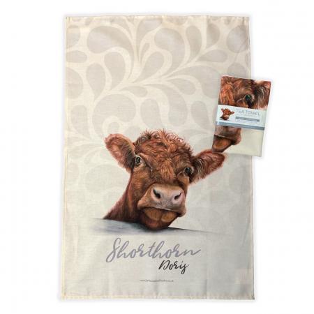 shorthorn cow tea towel