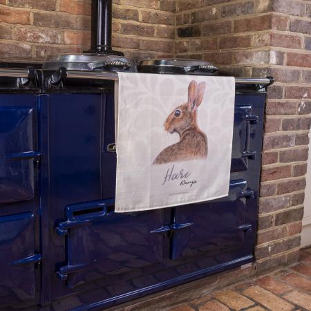 Hare Tea Towel on Aga