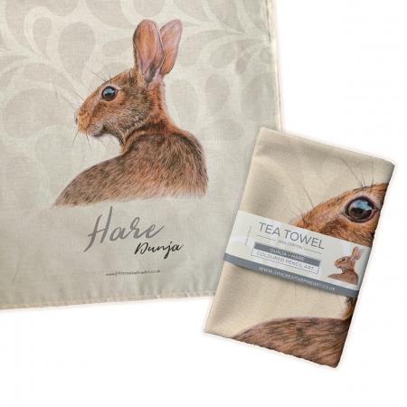 hare tea towel folded