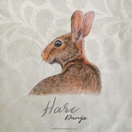 Hare Tea Towel close up