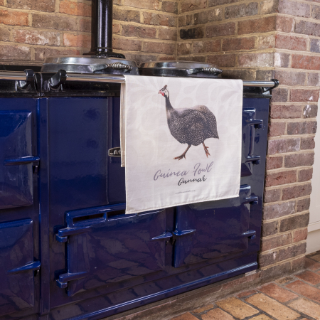 Guinea Fowl Tea Towel on Aga