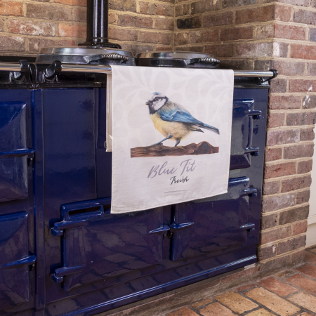 Blue Tit Tea Towel on Aga