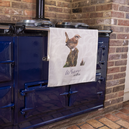 Wren tea Towel on aga rail