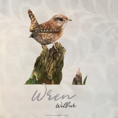 wren tea towel close up